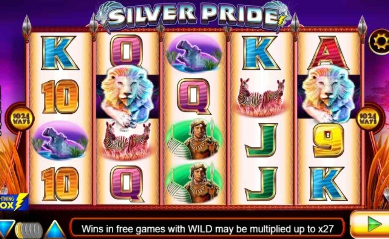 Screenshot of the reels in Silver Pride, an online slot by NYX/Lightning Box.