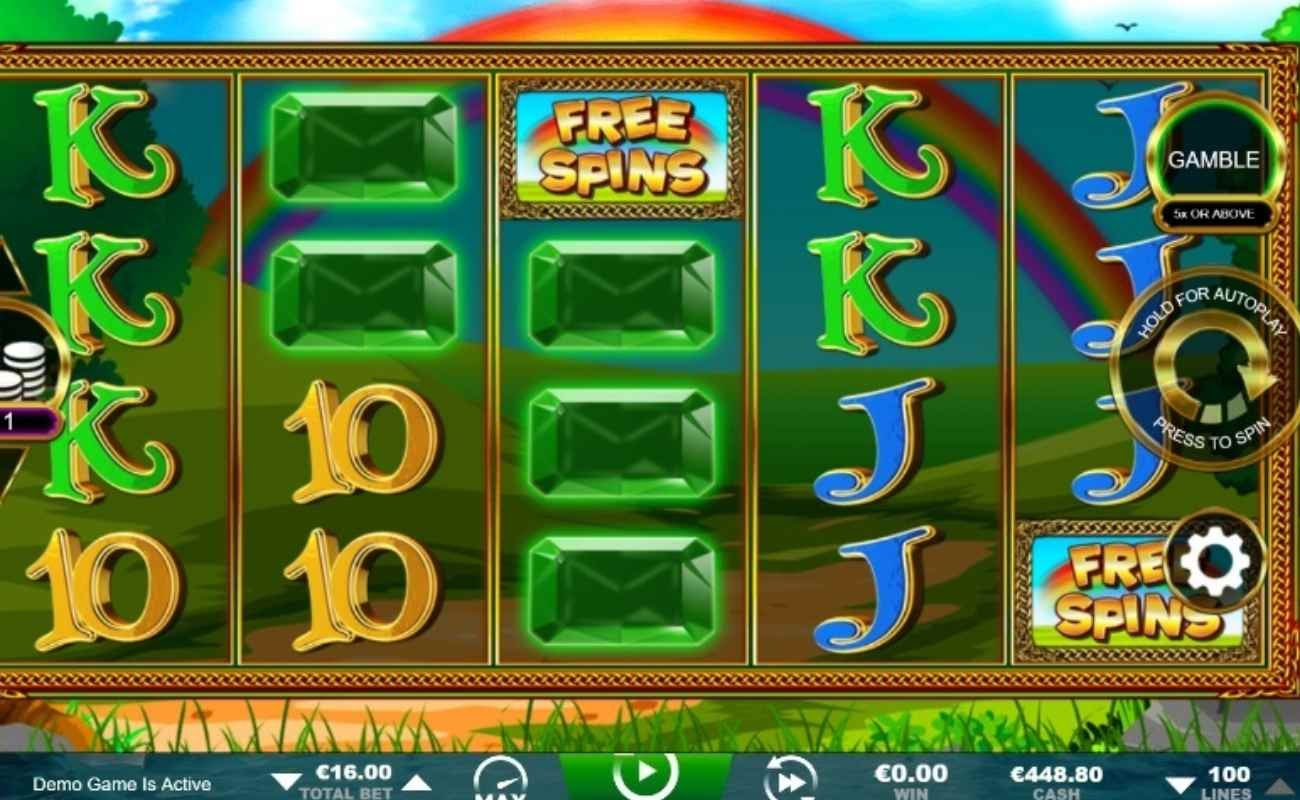 Screenshot of the reels in Slots O' Luck Free Spins, an online slot by Inspired.