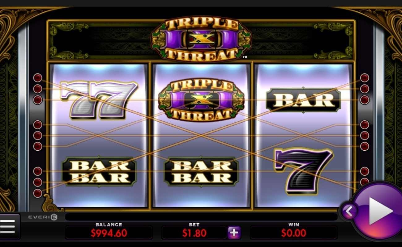 Screenshot of the reels in Triple Threat, an online slot by Everi.