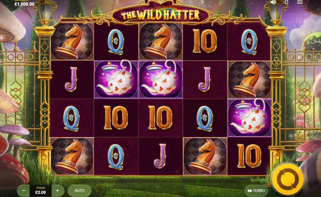 Screenshot of the reels in Wild Hatter, an online slot by Red Tiger.
