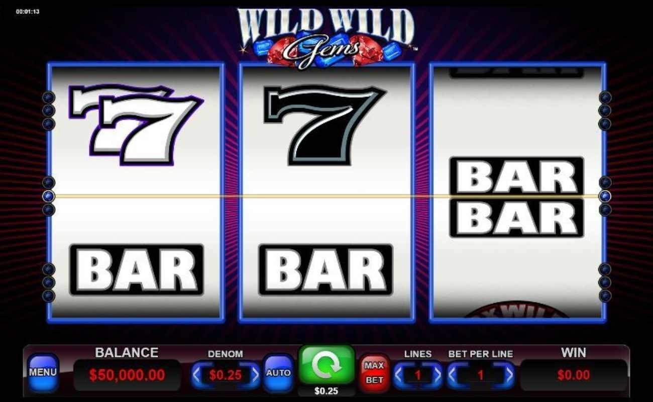 Screenshot of the reels in Wild Wild Gems, an online slot by Spin Games.