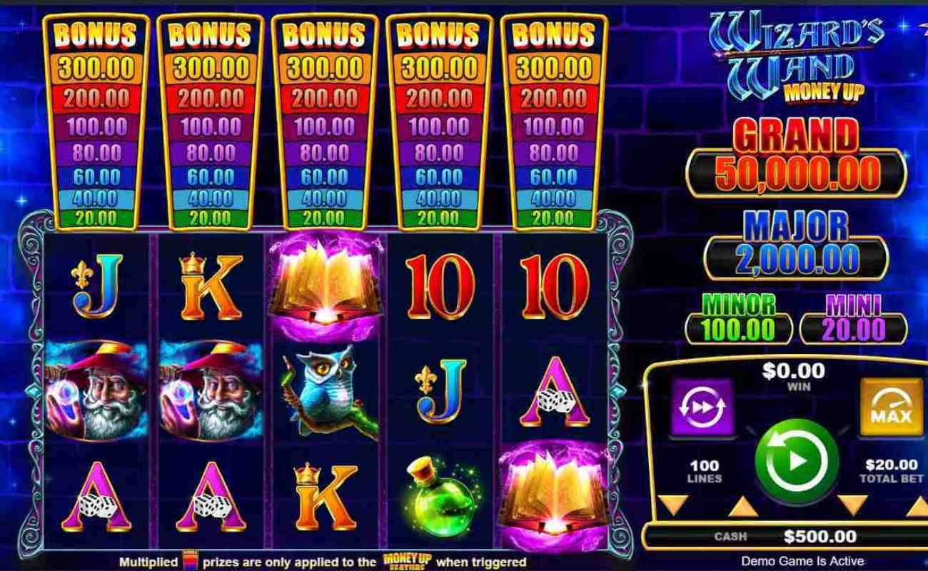 Screenshot showing the reels of Wizard's Wand Money Up online slot.