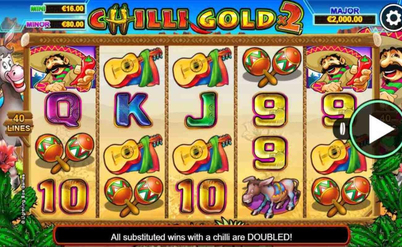 Screenshot showing the reels of Stellar Jackpots Chilli Gold x2 online slot.