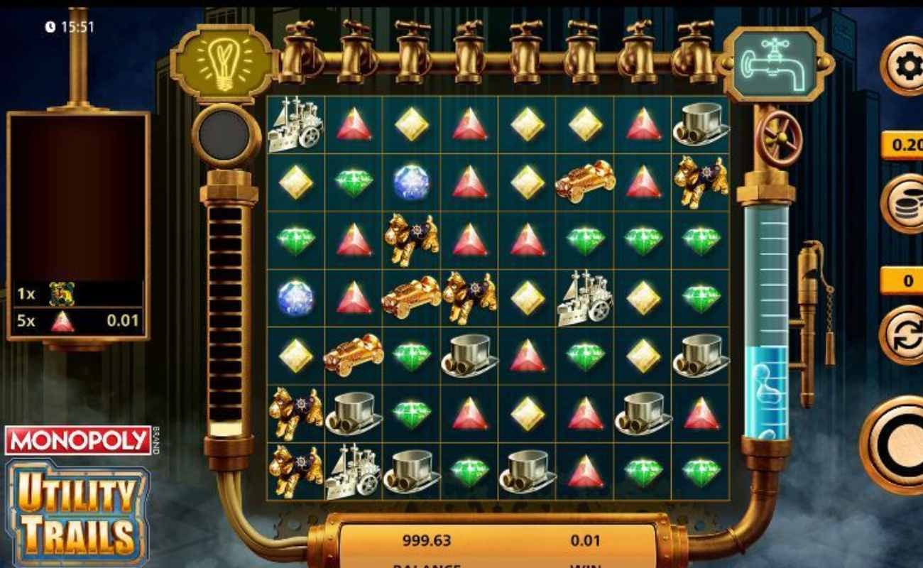 Screenshot of the reels in Monopoly Utility Trails online slot.