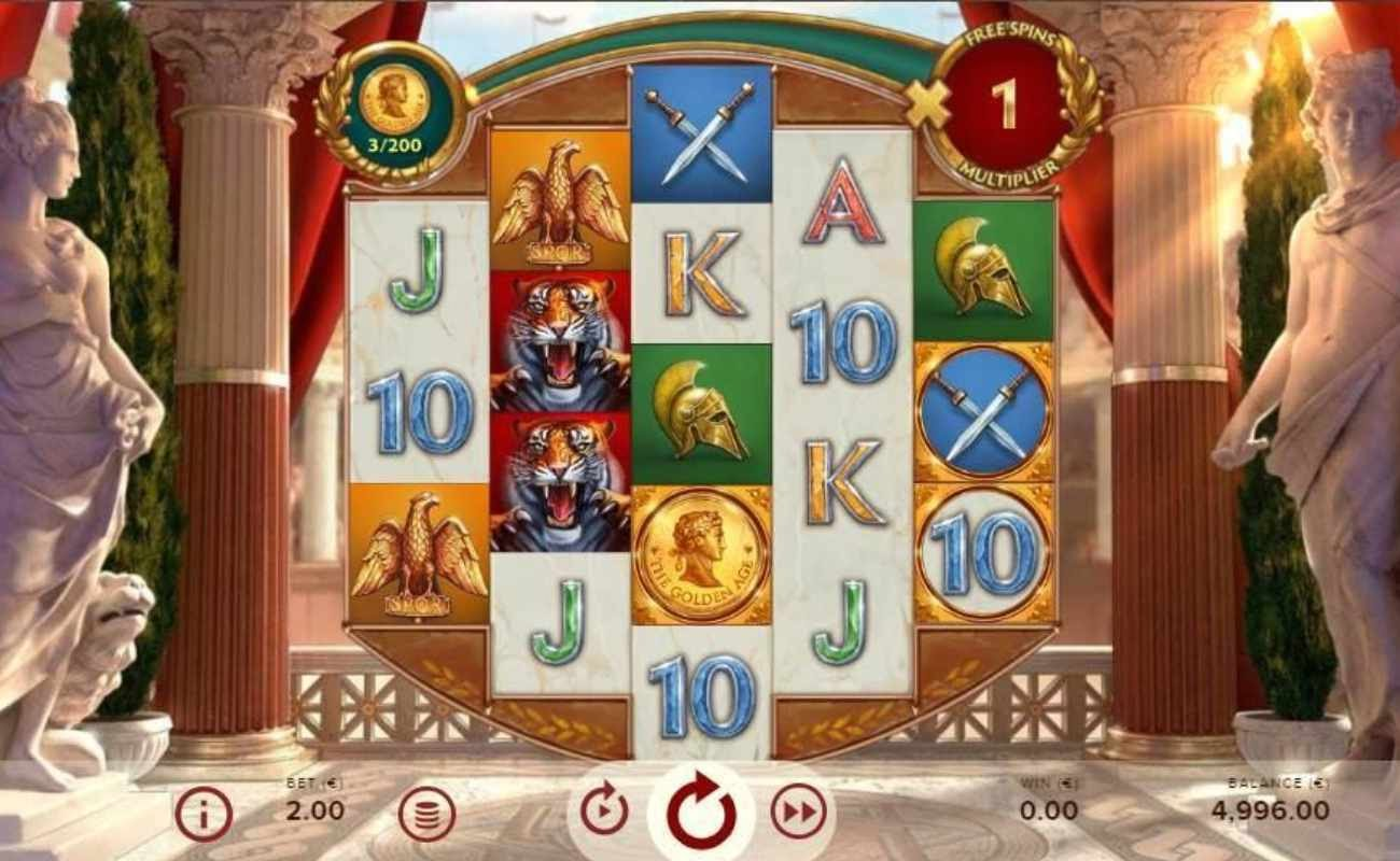 Screenshot of the reels in Rome: The Golden Age online slot.