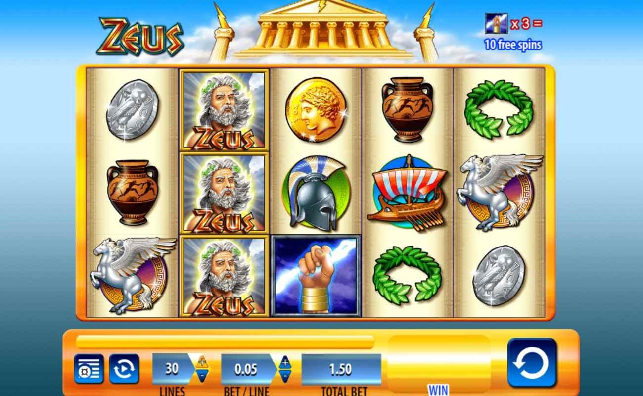 Screenshot of the reels in Zeus online slot.