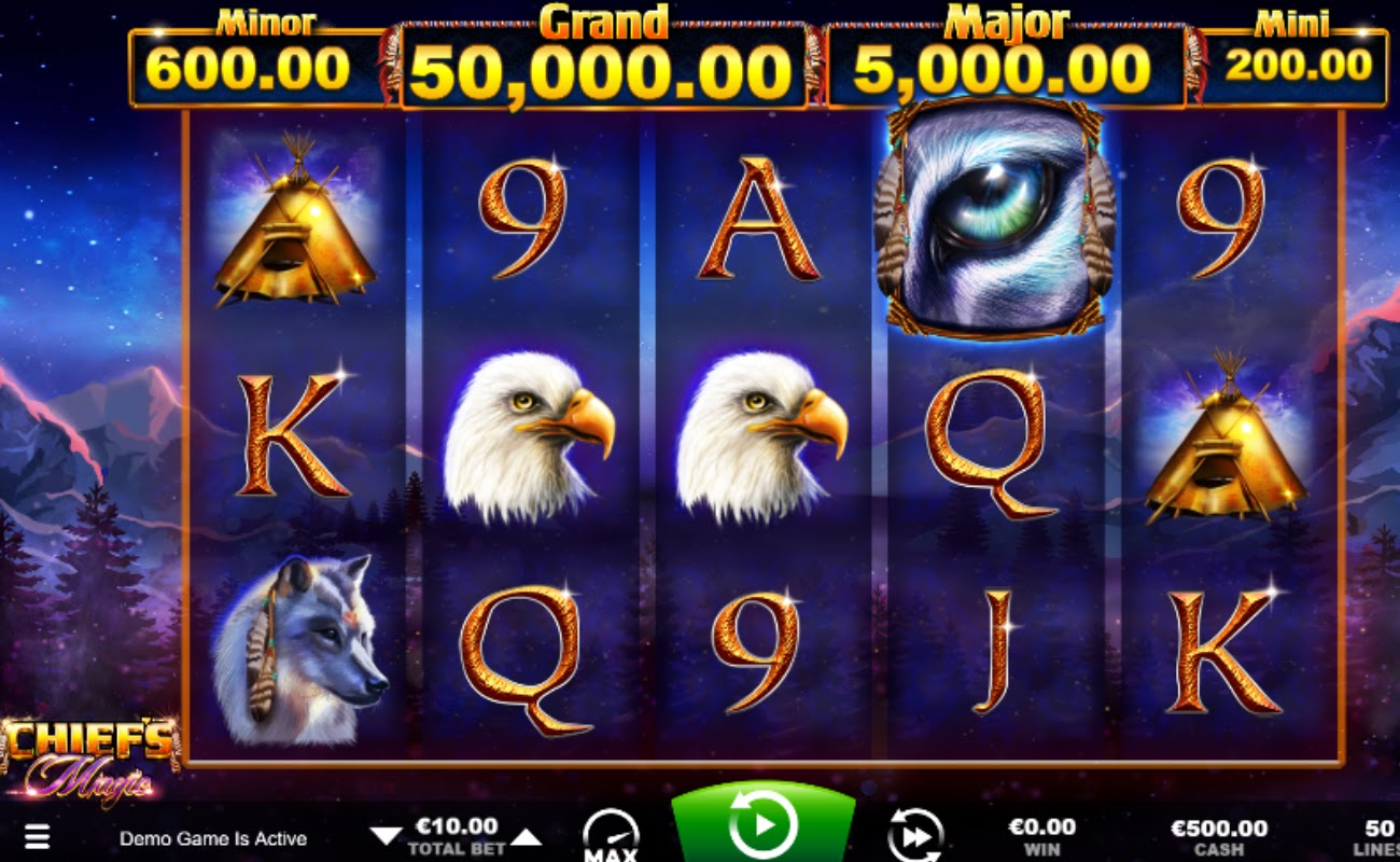 Screenshot of the reels in Chief's Magic online slot.