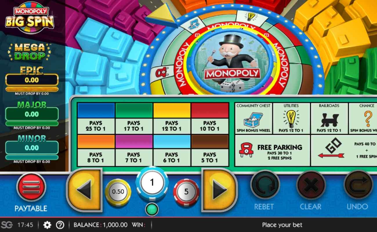 Screenshot of the reels in Monopoly Big Spin online slot.