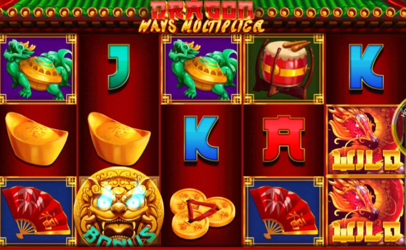 Screenshot of the reels in Dragon Ways Multiplier online slot.