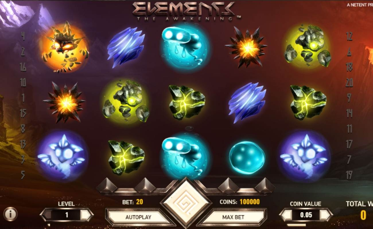 Screenshot of the reels in Elements online slot.