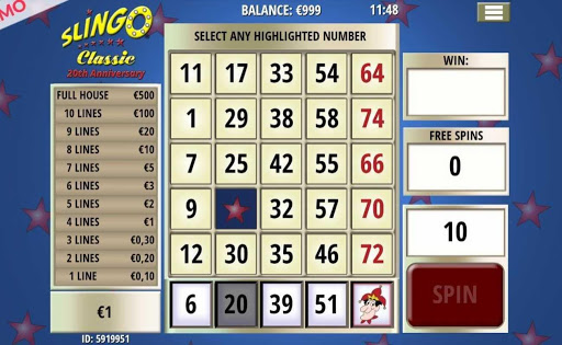 Screenshot of the grid and surrounding elements in Slingo Classic.