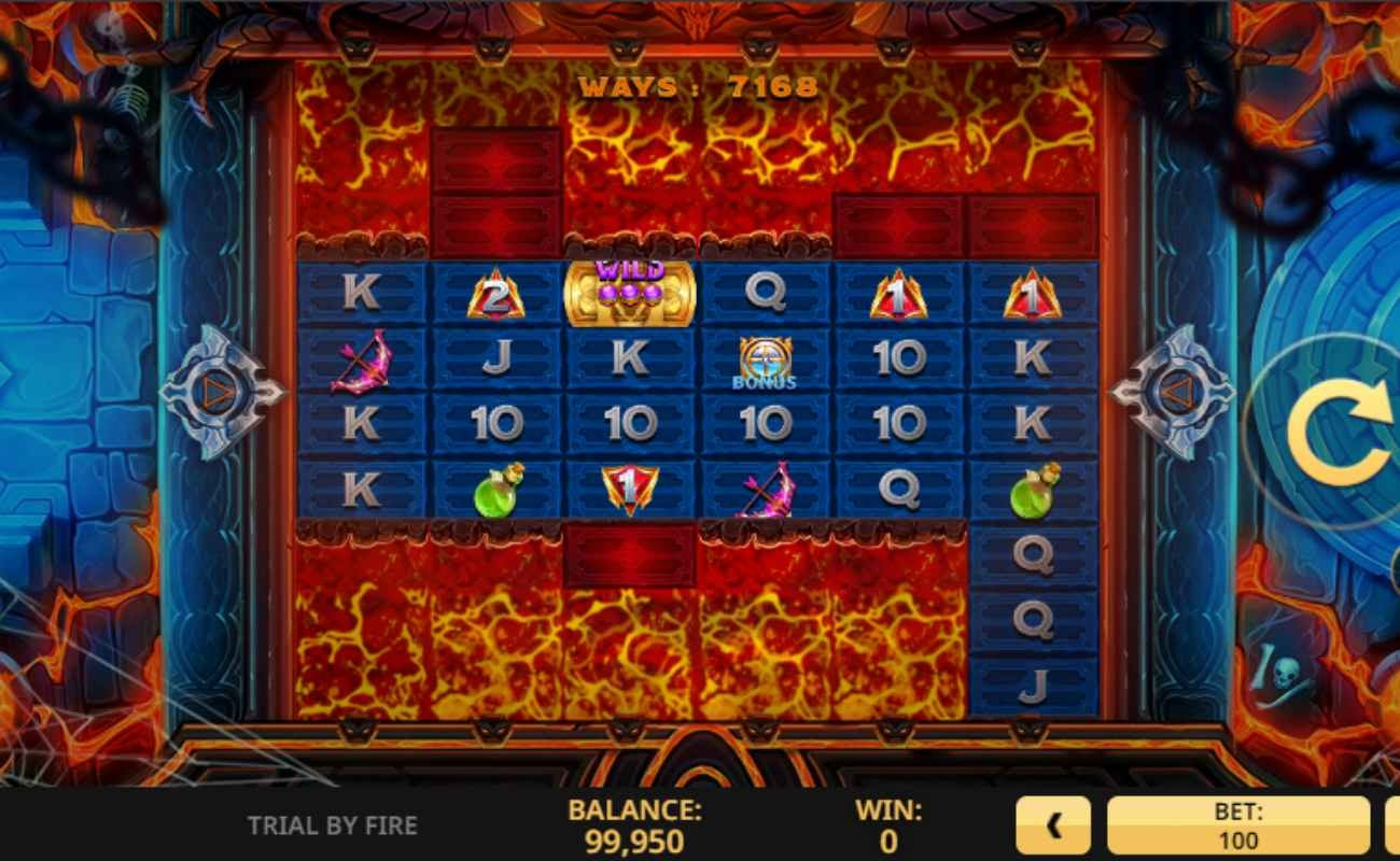 Screenshot of the reels in Trial by Fire online slot.