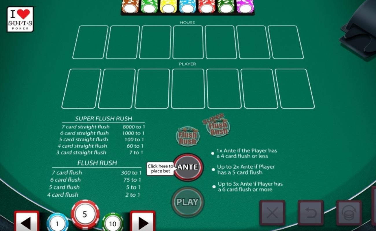 Screenshot of the table in I Luv Suits online video poker game.