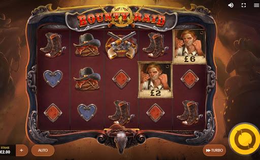 Screenshot of the reels in Bounty Raid online slot.