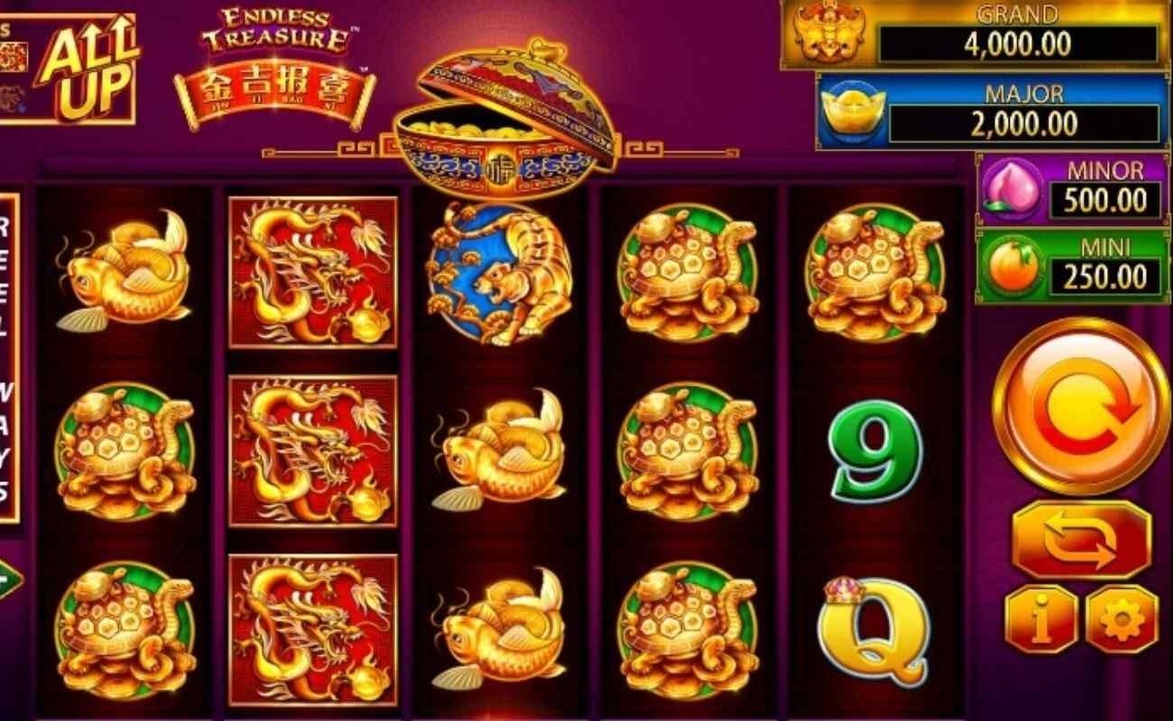Screenshot of the reels in Jin Ji Bao Xi Endless Treasure online slot.