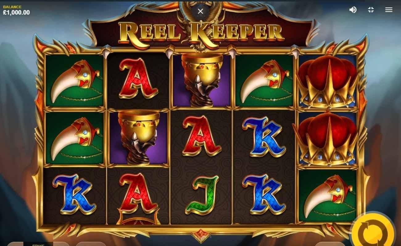 Screenshot of the reels in Reel Keeper online slot.