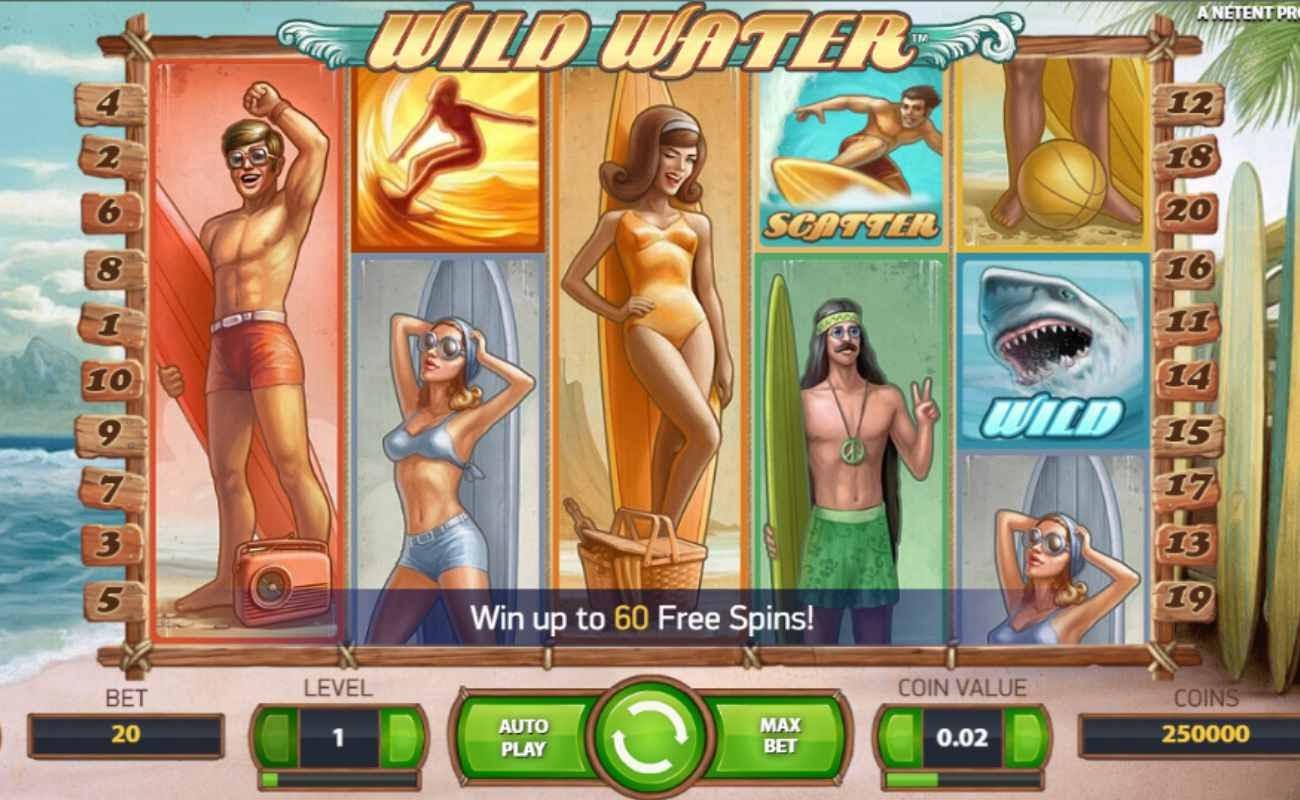 Screenshot of the reels in Wild Water online slot.