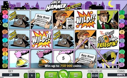 Screenshot of the reels in Jack Hammer online slot.