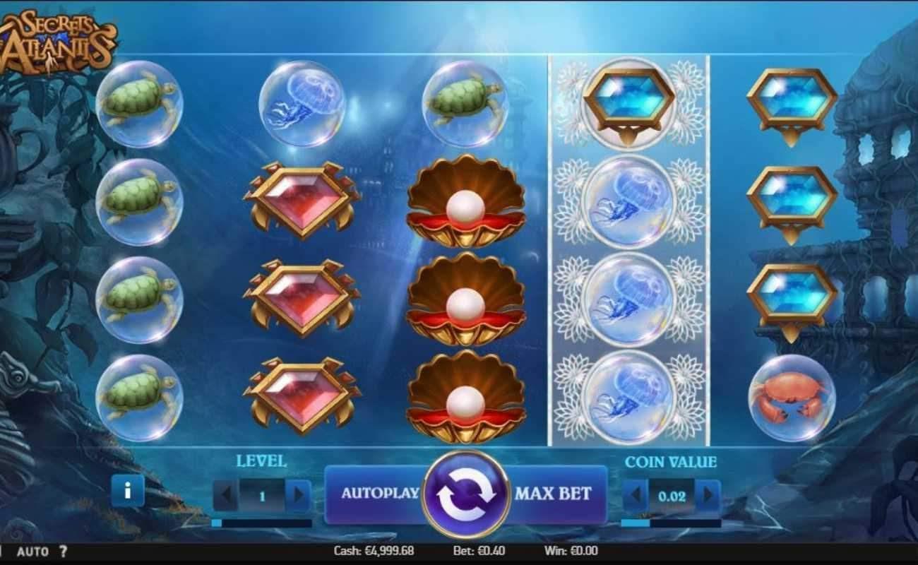 Screenshot of the reels in Secrets of Atlantis online slot.