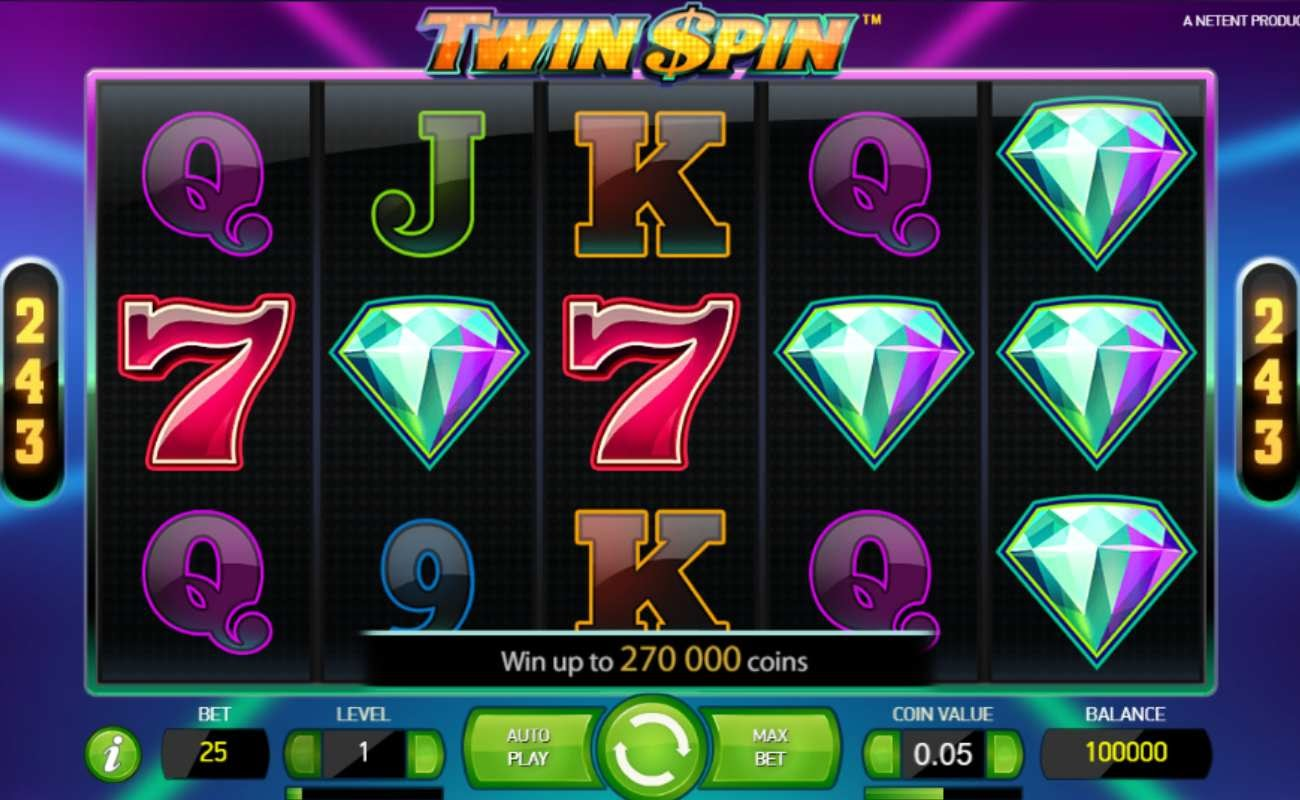 Screenshot of the reels in Twin Spin online slot.