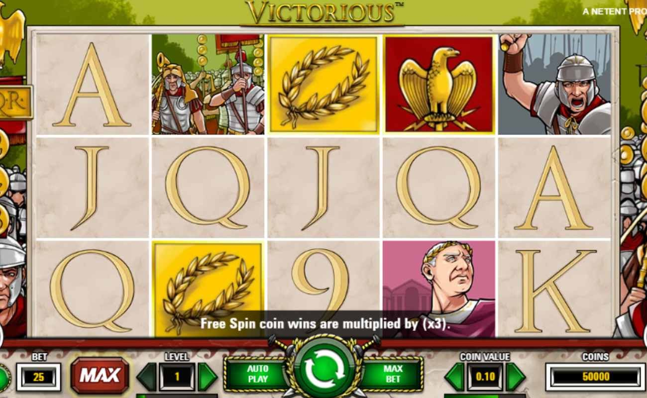 Screenshot of the reels in Victorious online slot.