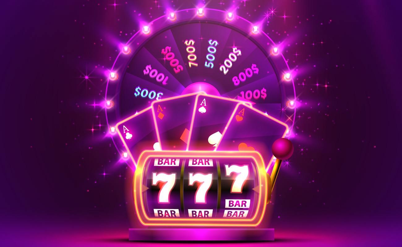Game show wheel and slot reel illustration against purple background