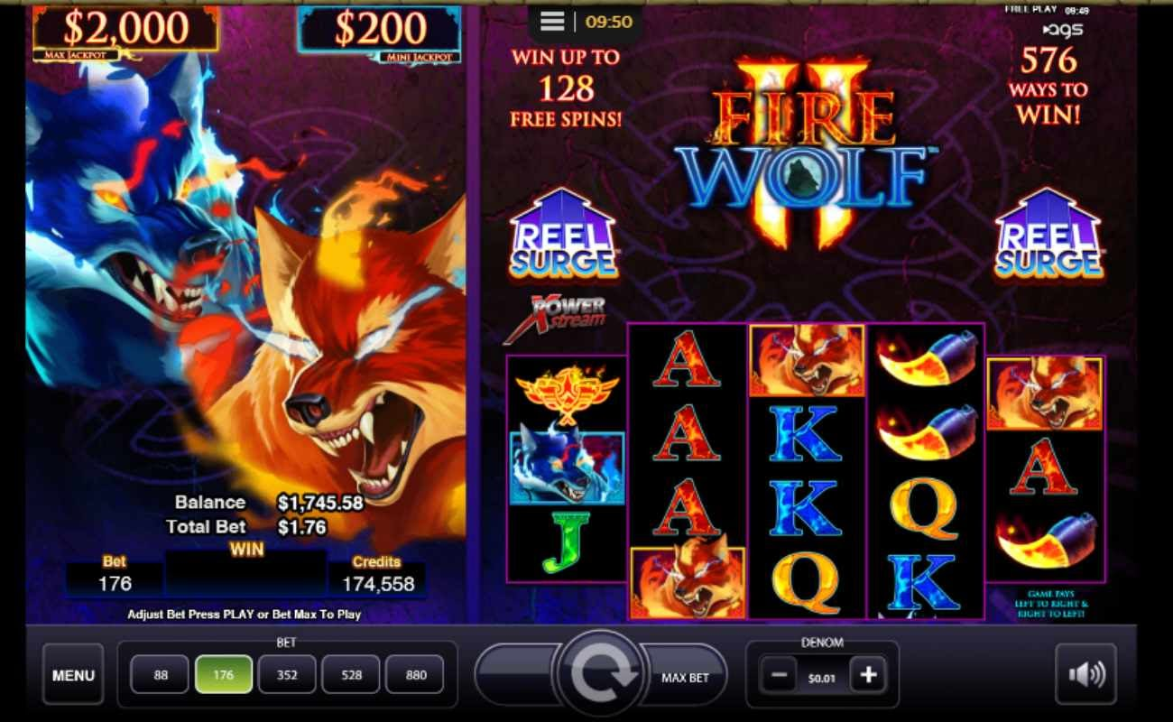 Fire Wolf II online casino slot game by AGS.