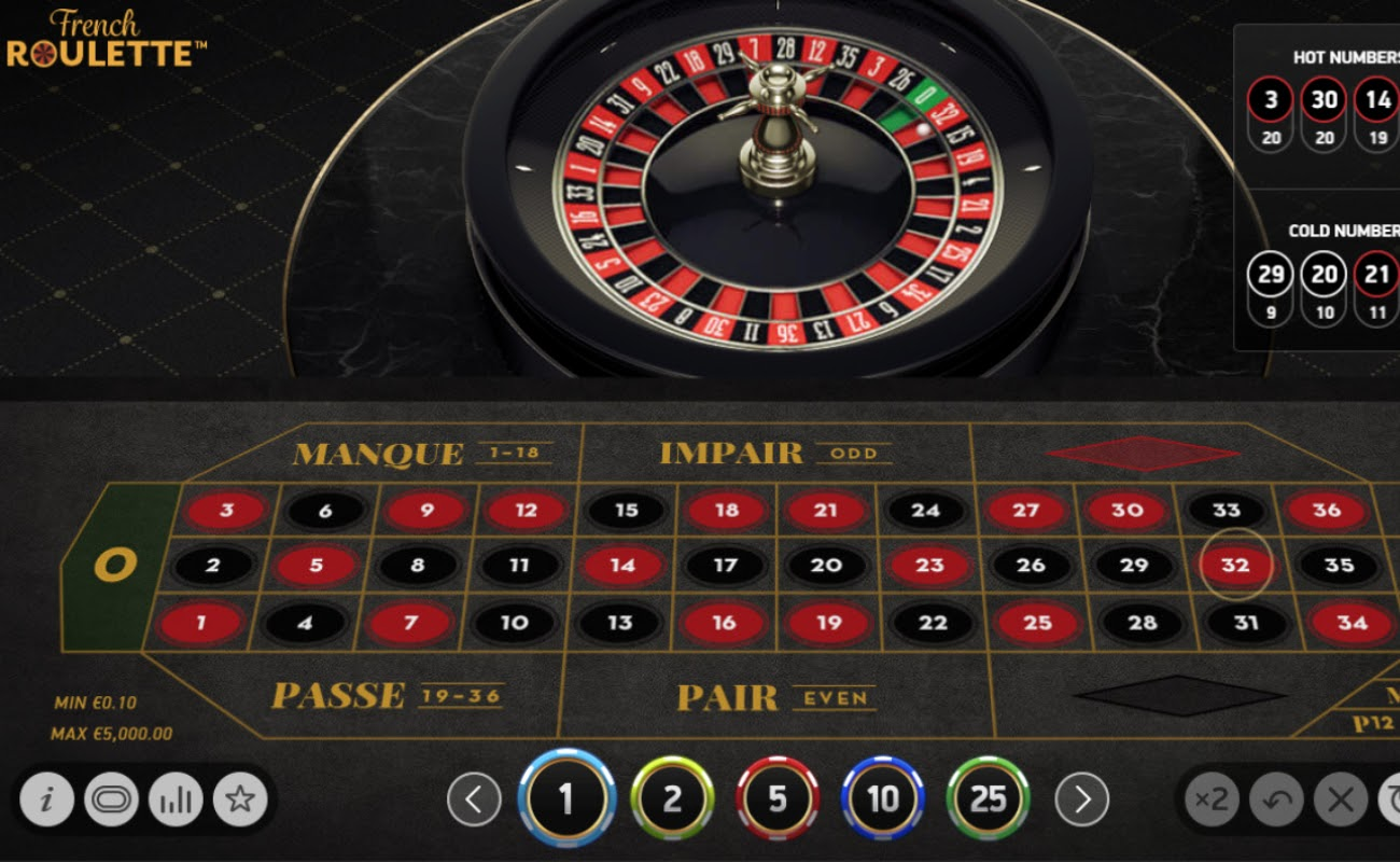 Screenshot of French Roulette by NetEnt.