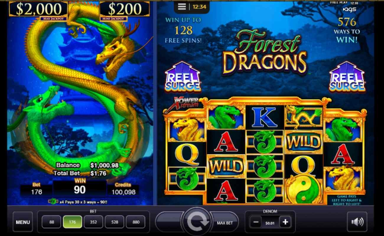 Screenshot of Forest Dragons online slot game by AGS.