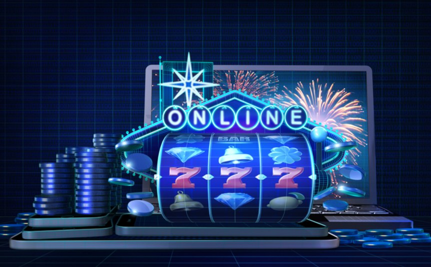 A rendering of an online slot, sitting next to a pile of casino chips in front of a laptop.