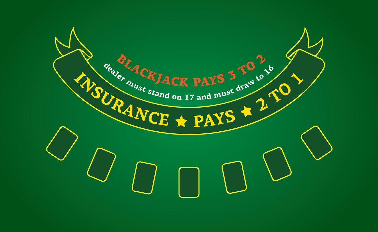 Green casino table with yellow detailing explaining blackjack rules and insurance bet payout values.