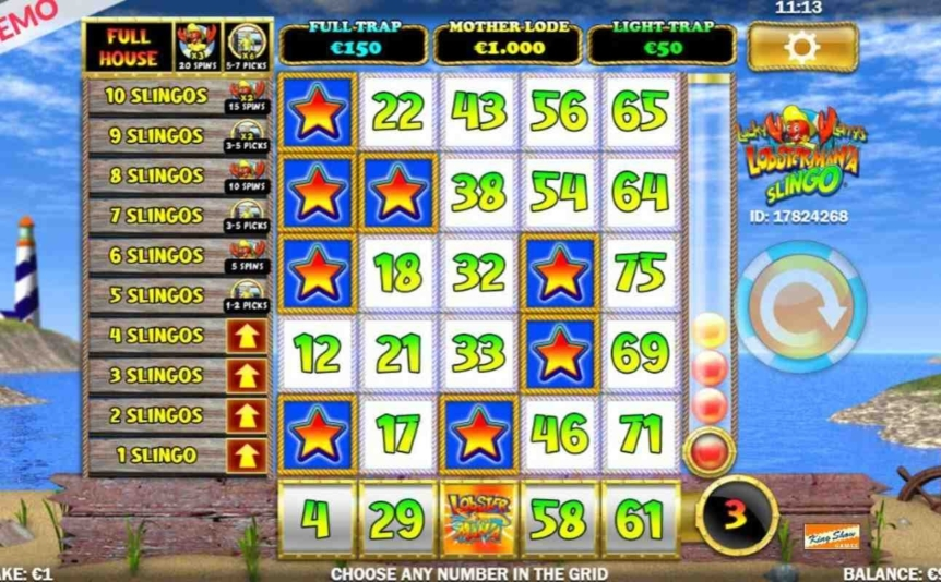 Slingo Lucky Larry's Lobstermania online casino game.