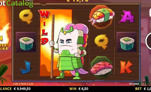 sushi samurai standing in front of the reels in the online slot game, Bushi Sushi.