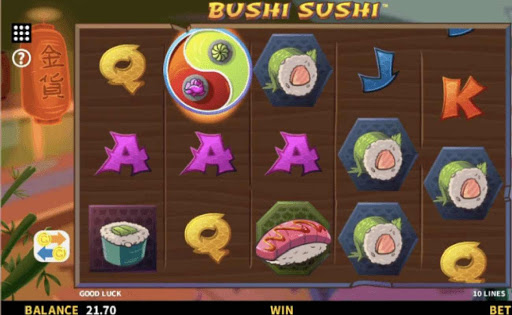 A view of the reels and background of online slot Bushi Sushi.