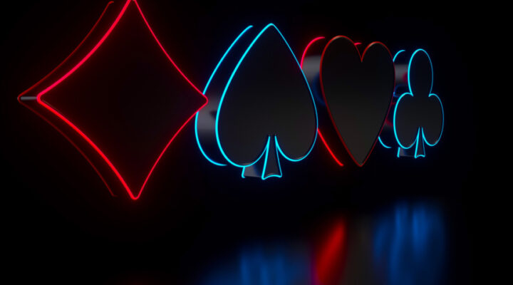 Neon diamond, clubs, heart, spades symbols