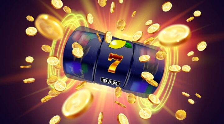 Online slot reels spinning with golden coins flying about.