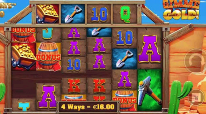 The reels of the online slot Gimme Gold! Megaways, set on a rocky backdrop.