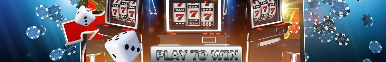 Online casino games illustration showing slot machines, casino chips and dice.