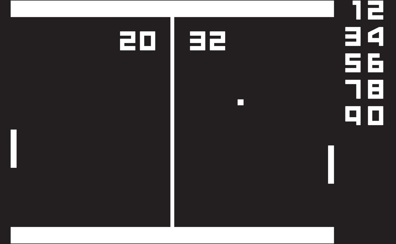 A screenshot of the retro video game called Pong.