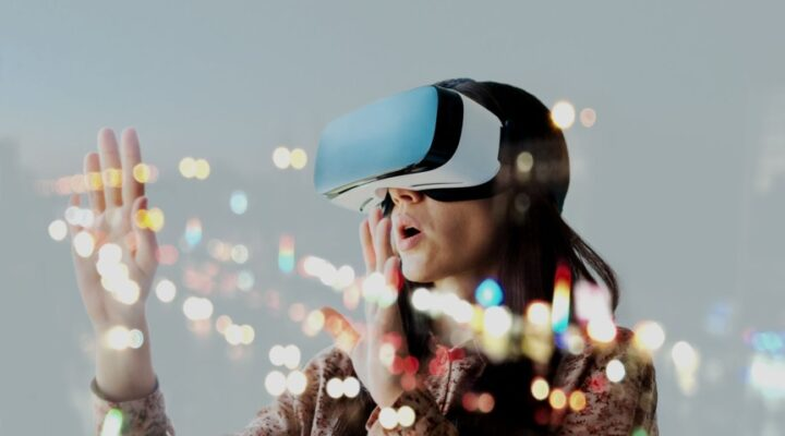 Woman wears virtual reality glasses.