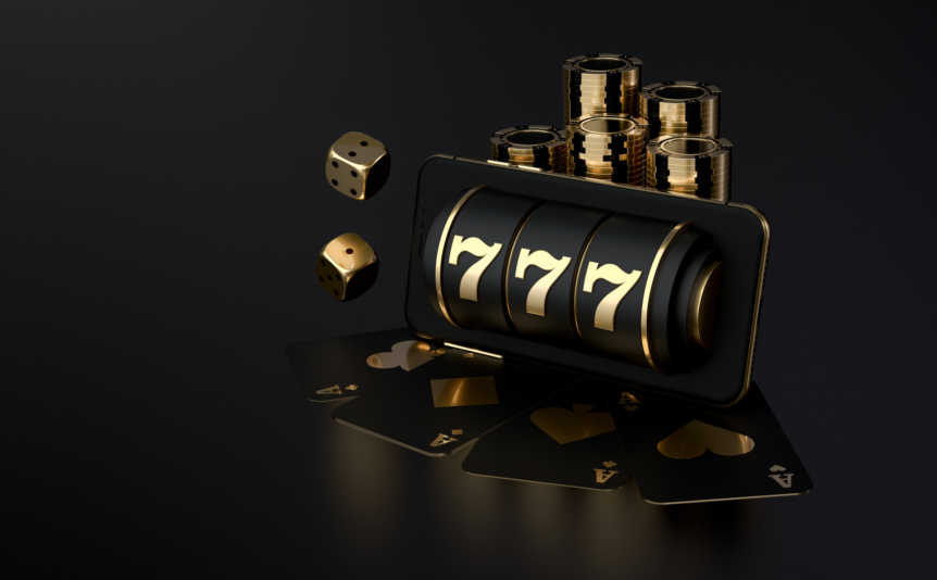 A 3D render of a black and gold slot reel, with a golden die next to it.