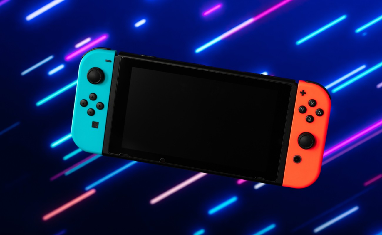 A 3D rendering of a Nintendo Switch against a blue background with lights.