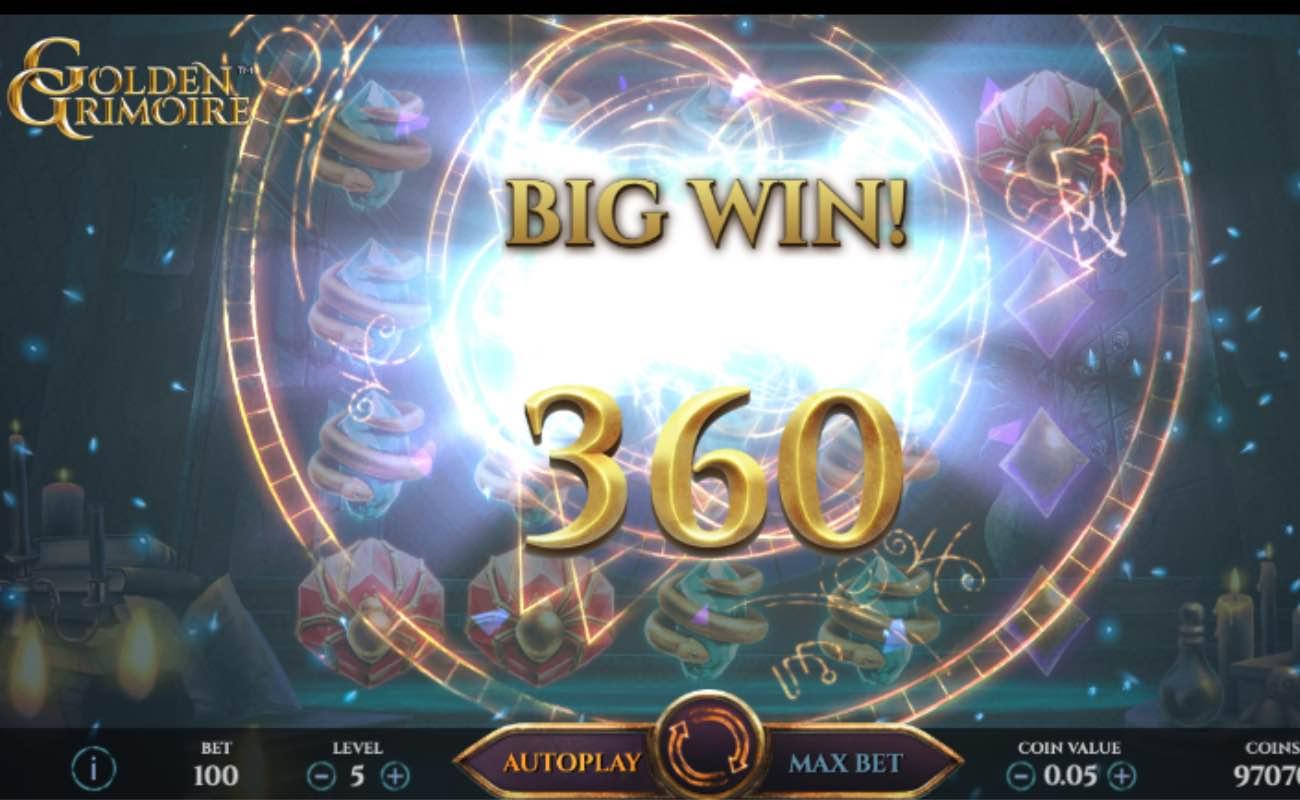 Golden Grimoire online slot game screenshot of win