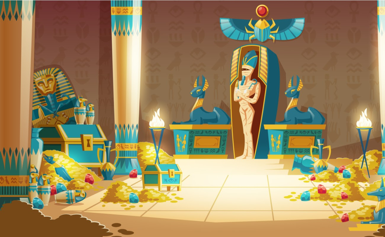 Illustration of an Ancient Egyptian temple filled with treasure.