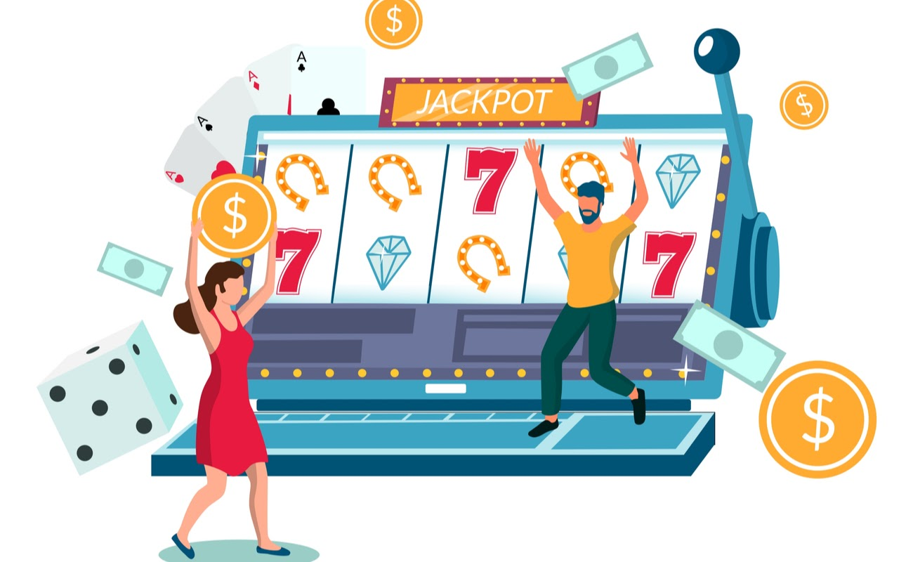Illustration of people playing online slots on a laptop.