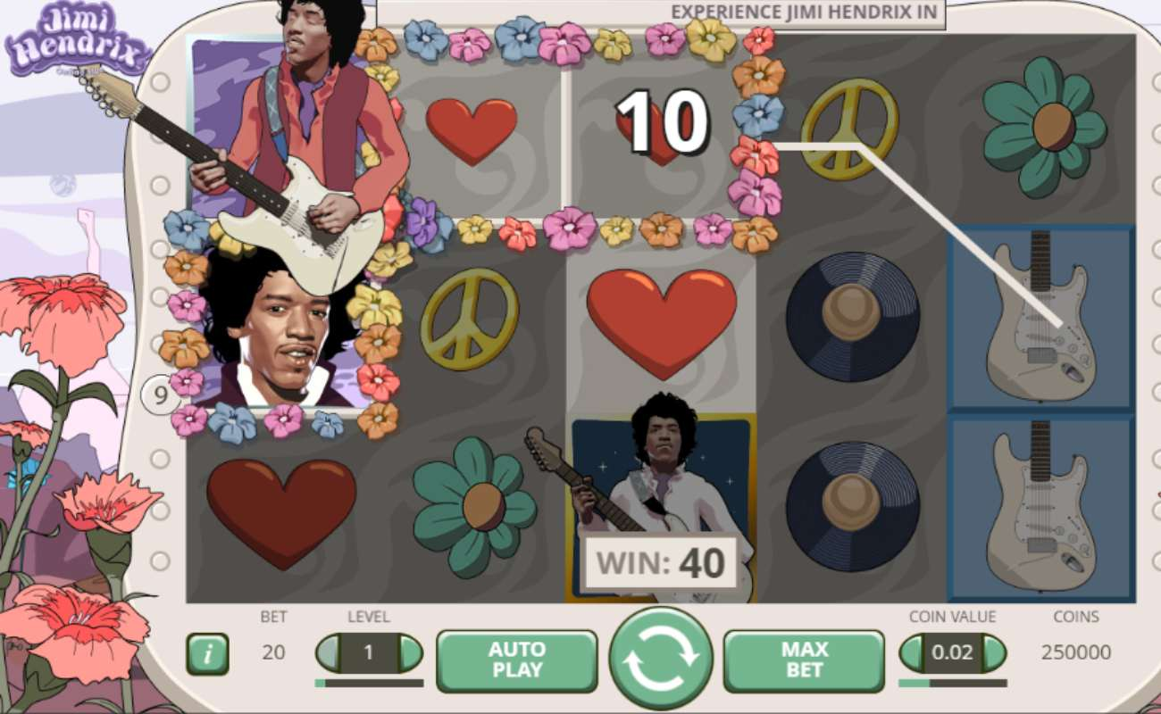 Screenshot of the reels showing a win in the Jimi Hendrix online slot by NetEnt.
