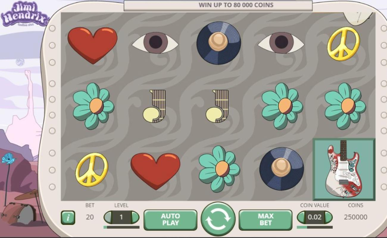 Screenshot of the reels in the Jimi Hendrix online slot game by NetEnt.