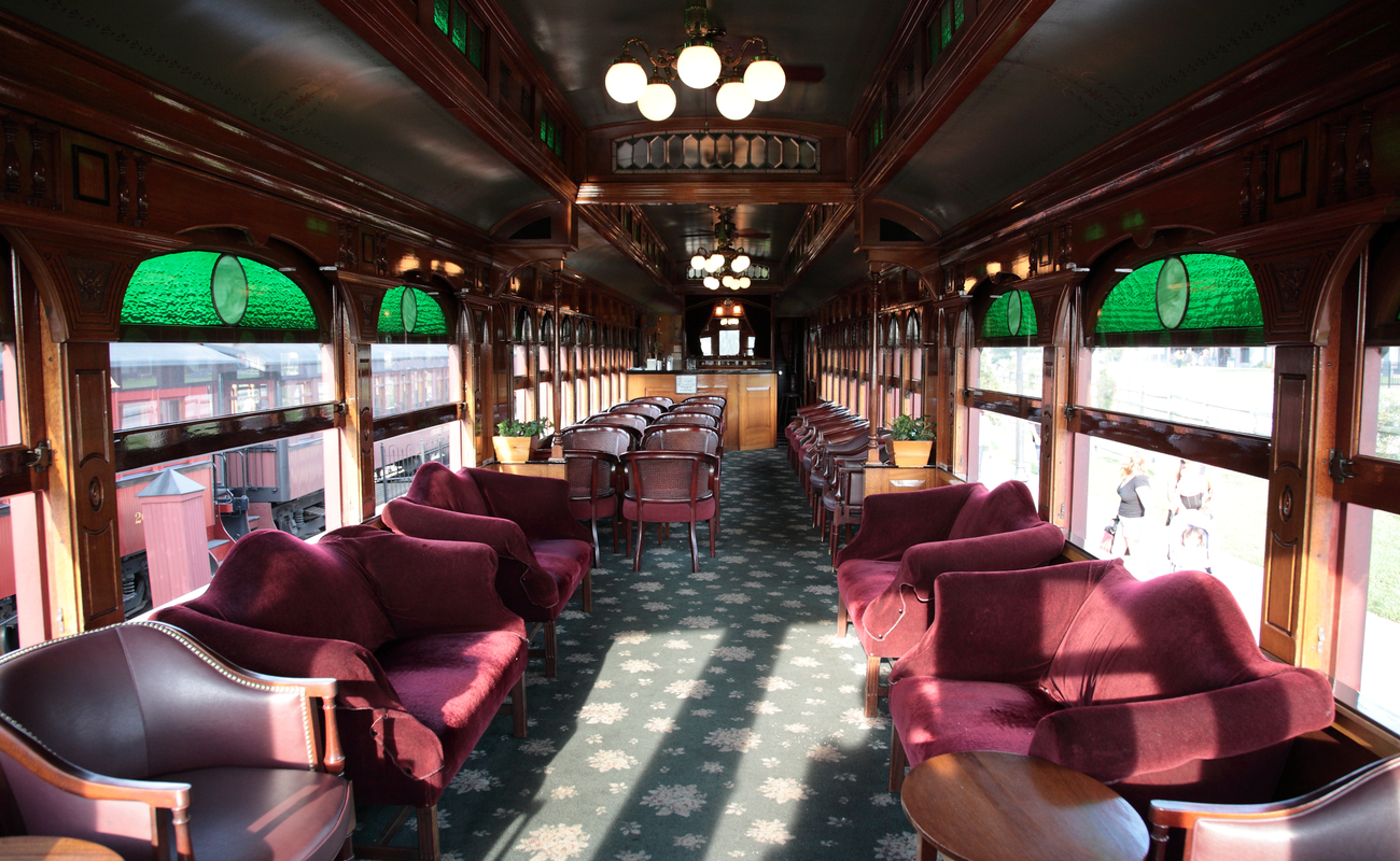 Luxurious interior of a vintage train.