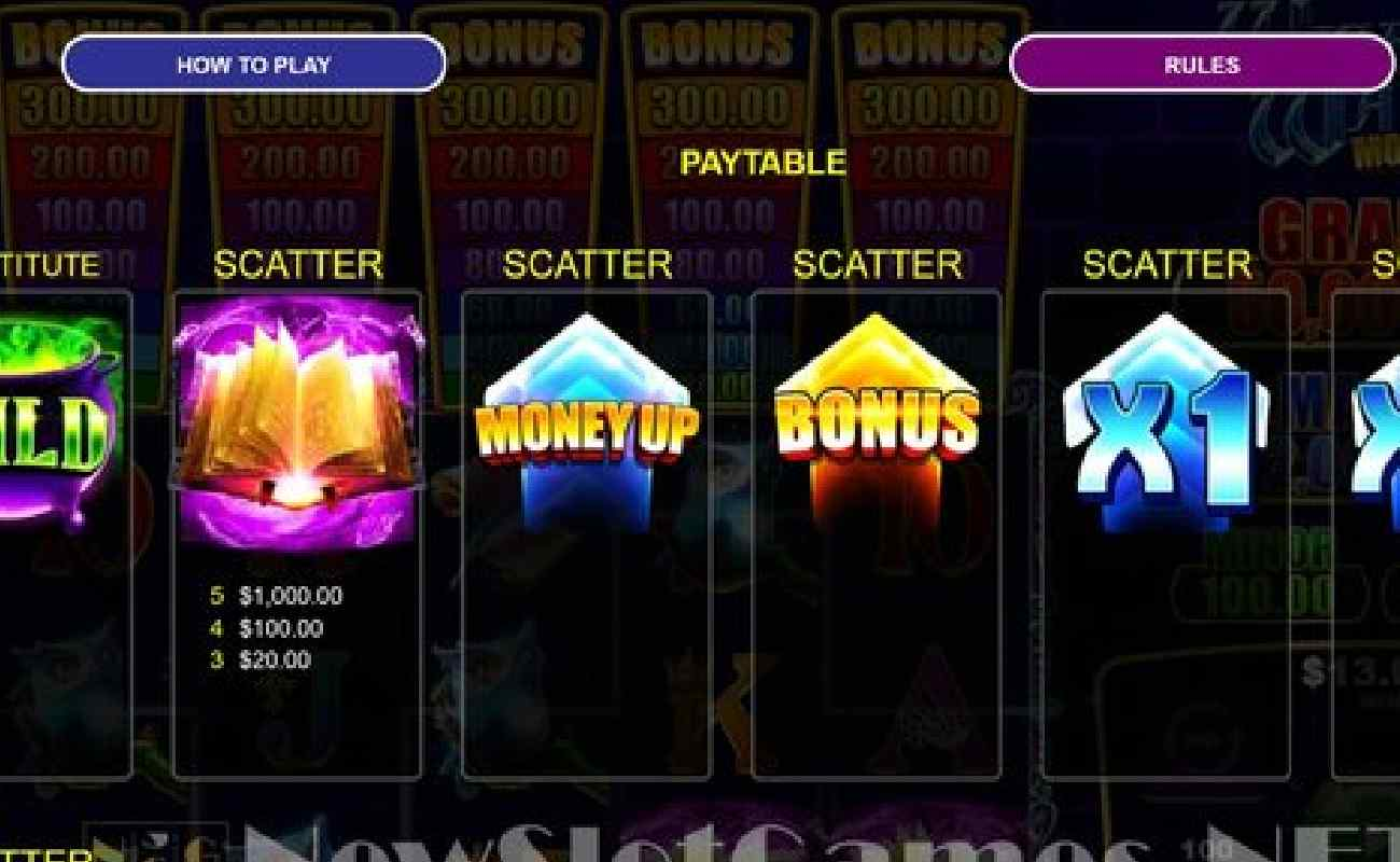 Game screen from Wizard's Wand Money Up online slot showing features like the  scatter.