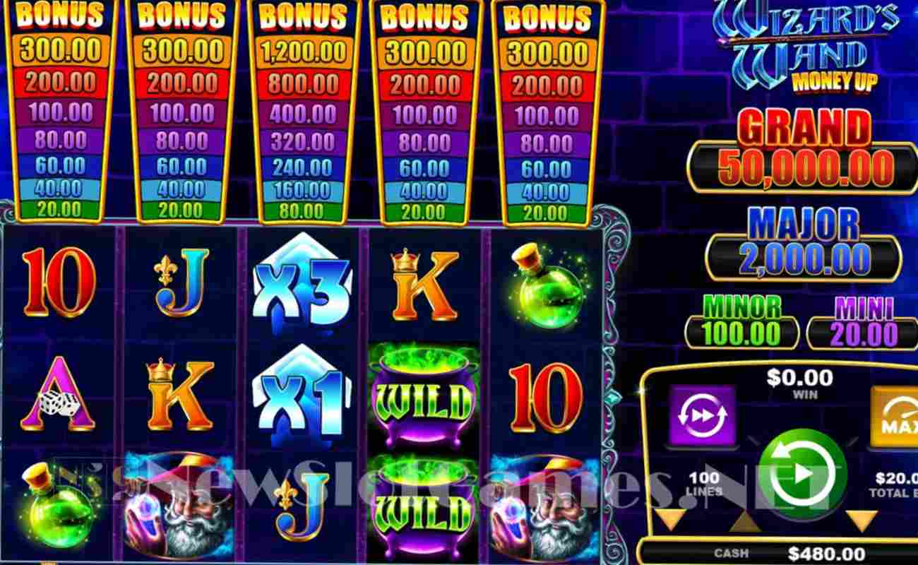 The colorful reel screen of Wizard's Wand Money Up.